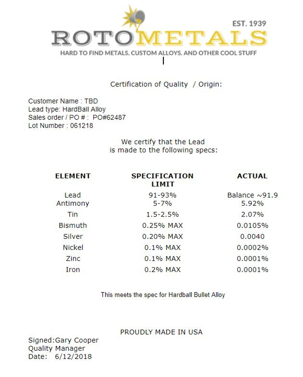 Lyman 2 Alloy 40 lbs Lead Bullet Casting Ingots 2/% Tin 6/% Antimony 92/% Lead Bars