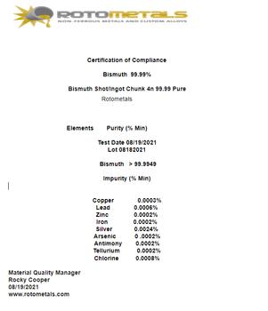 Bismuth Ingot Chunk 99.99% Pure ~ 1 Pound