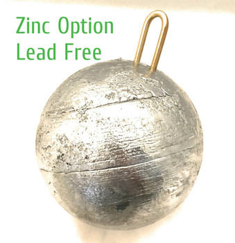 "30 pound (480 oz) Salmon Zinc Cannonball Sinker 6"" Diameter Lead Free, Made in USA"
