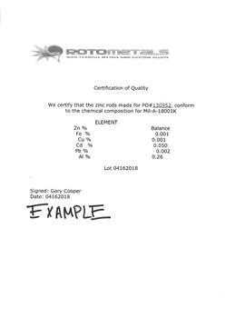 "Zinc Extruded Rods - 0.84"" Diameter x 6 Feet Mil-A-18001K  Alloy  ZRN"