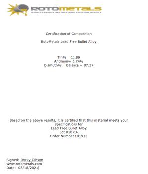 Lead Free Bullet Casting Alloy Bismuth based