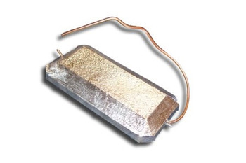 "Zinc Anode - 2.5"" x 4.5"" Hang Overboard with Copper Wire"