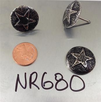 """NR680 - Nickel Ren. Star Medallion Nail/Clavos Head - Head Size: 7/8"""" Nail Length: 3/4"""" - 25 per box"""