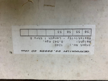 Germanium Ingot  99.99% Pure 542 grams
