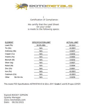"""(2.5#) Sheet Lead 1/24""""  4' x 4'"""