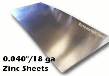"""Zinc Sheet - .040"""" x 44.4"""" x 120"""""""