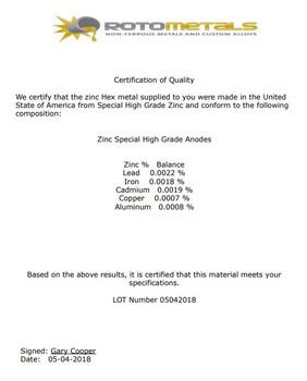 "Zinc Extruded Rods - Price is per Foot 1/4"" Diameter Wire"