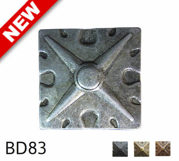 "BD83 - Square Shaped, Carved Pewter Nail/Clavos Head with Star Shaped Detail - Head Size: 1.6"" Nail Length: 3/4"" - 25/box"