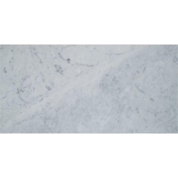 Carrara White 6 in. x 12 in. Polished Marble Floor and Wall Tile (5 sq. ft. / case)
