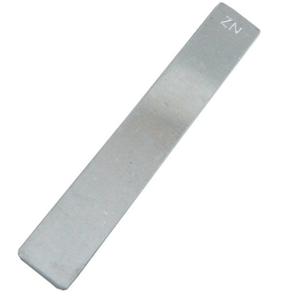 Ajax Scientific Zinc Electrode Strip, 132mm Length x 25mm Width x  .5mm thick