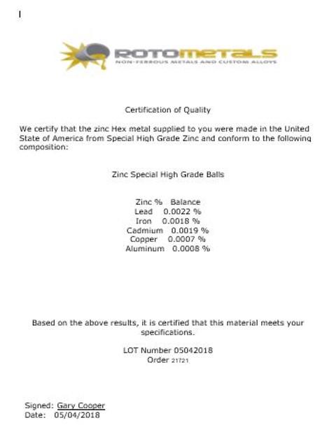 """2200 Pounds Zinc Balls 2"""" Diameter  SHG 99.99+% Pure  only $1.71 lb"""