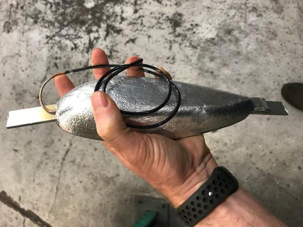 """ZTS-5 Zinc Anode Teardrop 1.37"""" x 3"""" x 9"""" w/ 18"""" Copper wire"""