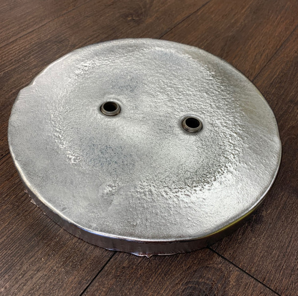 "Zinc Disc 11"" Diameter x 1"" Thick with 2-   5/8"" holes on 3.5"" CTC"