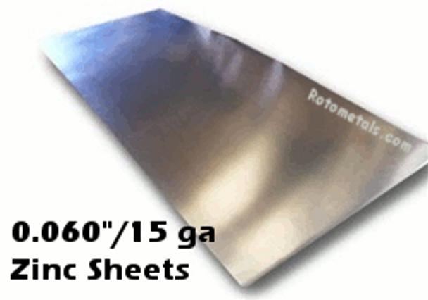 """.060"""" Zinc Sheet -15 Gauge - .060"""" x 44.4"""" x 10 Foot [Grade B]"""