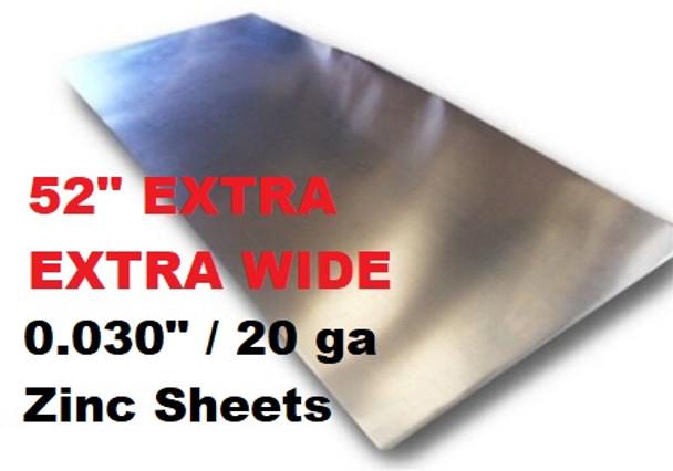 """.030"""" x 52.75"""" Extra Extra Wide Zinc Sheet - 20 Gauge"""