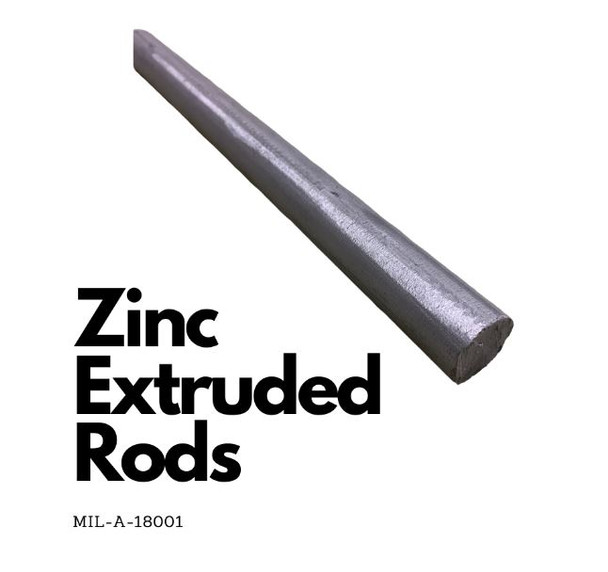 "Zinc Extruded Rods -3/4 "" Diameter x 6 Feet Mil-A-18001K  Alloy  ZRN"