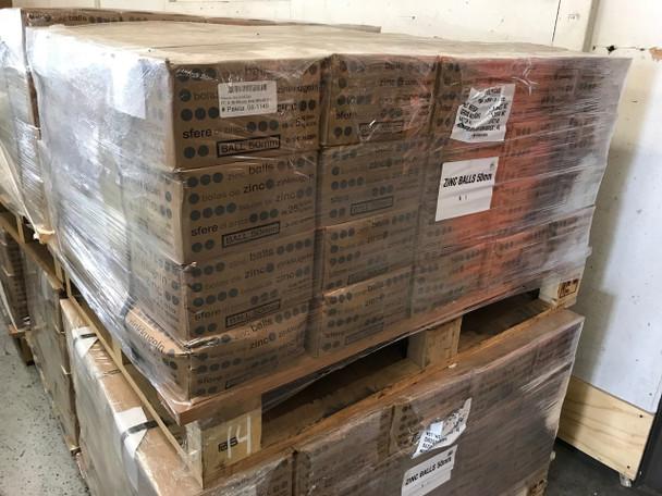 """2200 Pounds Zinc Balls 2"""" diameter  SHG 99.999% Pure"""