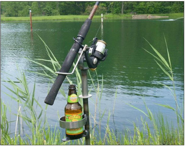 Adjustable Swivel Fishing Rod/Pole Stand with Cup Holder- Made in USA High quality