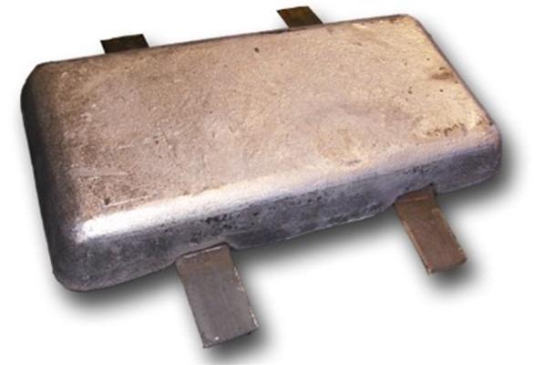 """AHS-10 Aluminum Anode 1.25"""" x 6"""" x 12"""""""