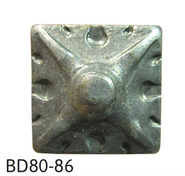 """BD80 - Square Shaped Carved Nail/Clavos Head - Head Size: 9/16"""" Nail Length: 5/8"""" - 25/box"""