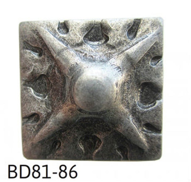 "BD81 - Square Shaped, Carved Nail/Clavos Head with Star Shaped Detail - Head Size: 3/4"" Nail Length: 5/8"" - 20/box"