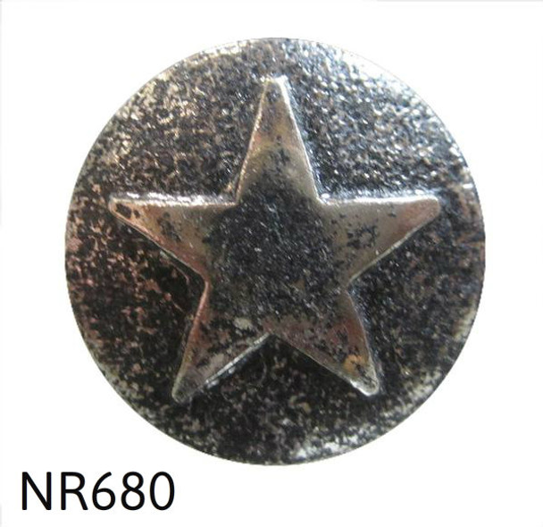 "NR680 - Nickel Ren. Star Medallion Nail/Clavos Head - Head Size: 7/8"" Nail Length: 3/4"" - 25 per box"