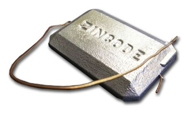 "Zinc Anode - 4"" x 6"" Hang Overboard w/ Copper Wire"