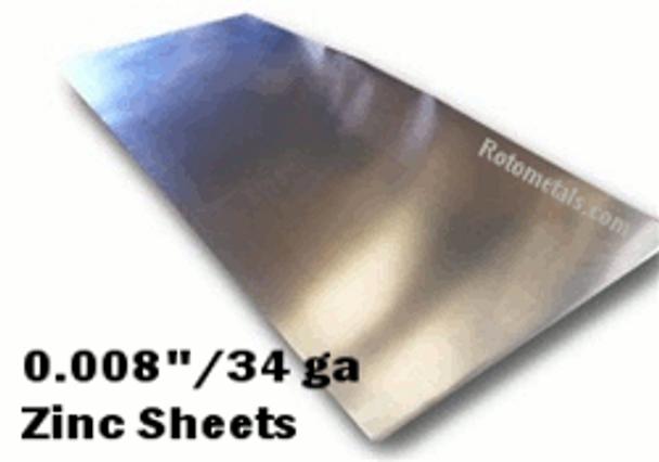""".008"""" Zinc Sheet - 34 Gauge"""