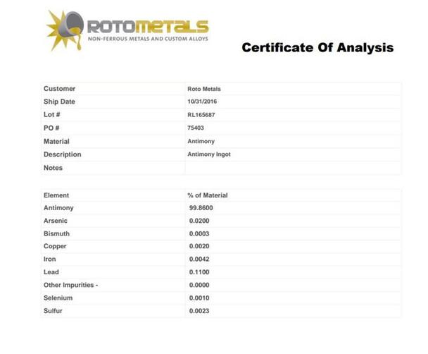 Antimony Block 48 Pounds 99.65% Minimum Pure
