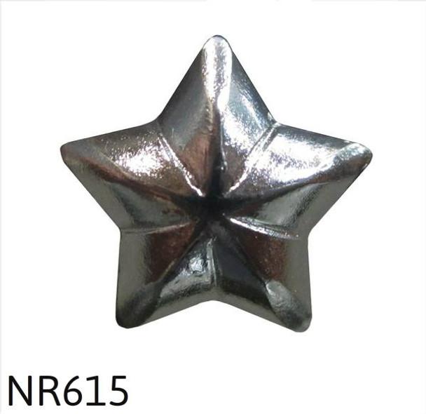 """NR615 - Gun Nickel 5 Point Star Nail/Clavos Head - Head Size: 1/2"""" Nail Length: 1/2"""" - 100 per box"""