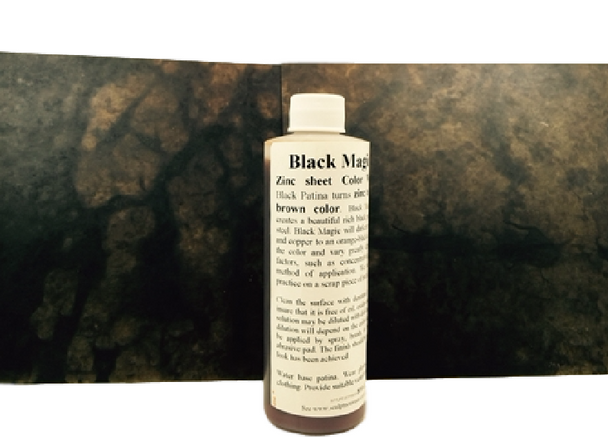 Patina Black Magic Solution- Leathery Brown on Zinc