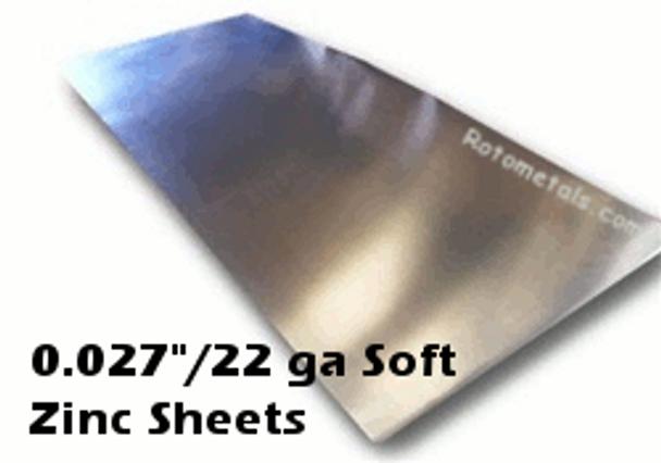 """.027"""" (Soft Alloy) Zinc Sheet -  22 Gauge"""