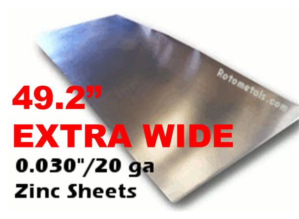".030"" x 49.2"" Extra Wide Zinc Sheet - 20 Gauge"