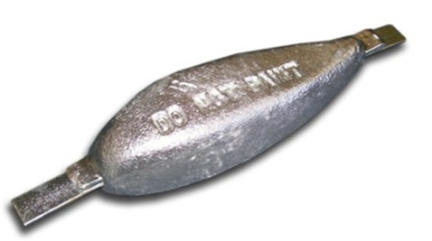 "ZTS-5 Zinc Anode Teardrop w/ Aluminum Strap 1.37"" x 3"" x 9"""