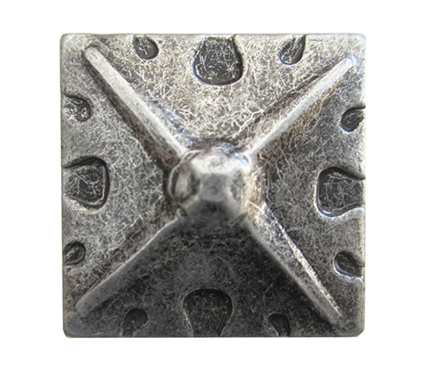 "BD82 - Square Shaped, Carved Pewter Nail/Clavos Head with Star Shaped Detail - Head Size: 1.2"" Nail Length: 3/4"" - 40/box"