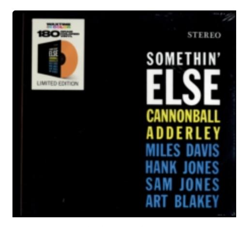 Cannonball Adderley - Somethin Else   ( Vinyl, LP, Album, Orange, 180g)