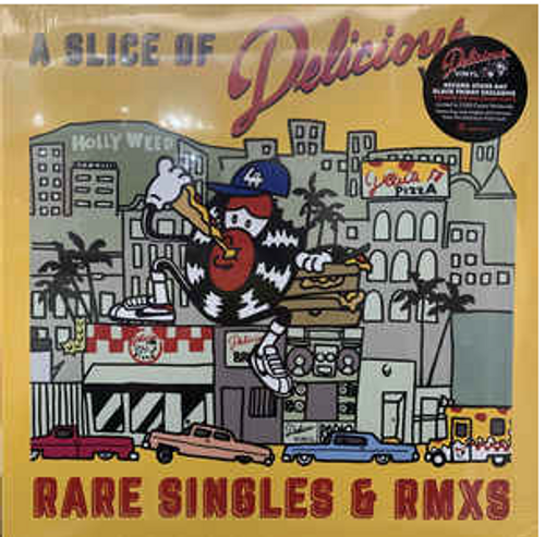 Various ,‎– A Slice of Delicious Vinyl, (Rare Singles & RMXS),.     (Vinyl, LP, Compilation, Red Translucent)