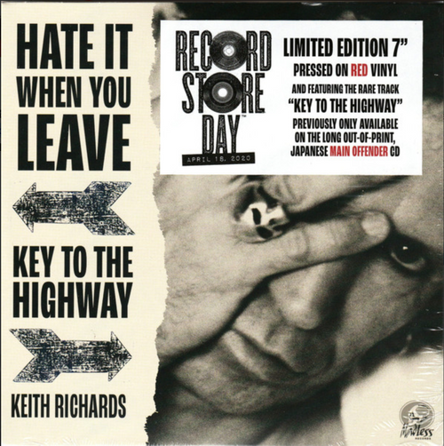 "Keith Richards ‎– Hate It When You Leave / Key To The Highway.   ( Vinyl, 7"", 45 RPM, Single, Limited Edition, Red) (RSD 2020)"