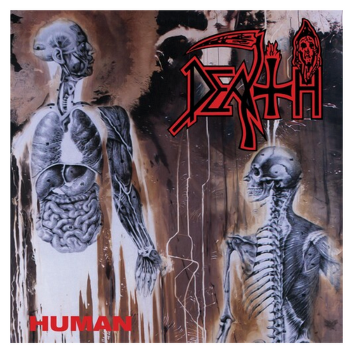 Death  ‎– Human.   ( Vinyl, LP, Album, Clear with Bone White Pinwheels and Brown, Blood Red and Cyan Blue Splatter)