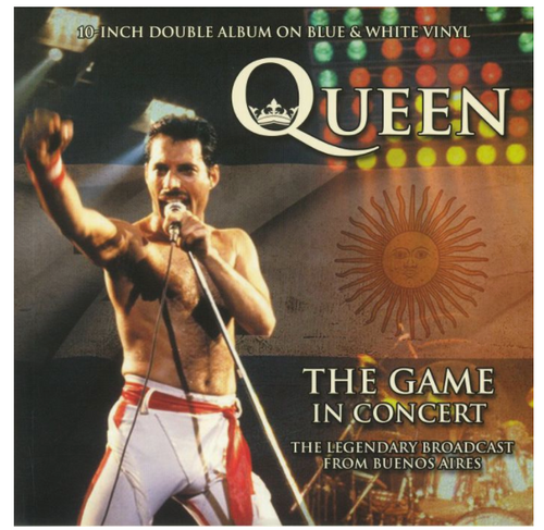 """Queen – The Game In Concert.   ( Vinyl, 10"""", 33 ⅓ RPM, Limited Edition, Unofficial Release, Gatefold, Double blue/white vinyl)"""
