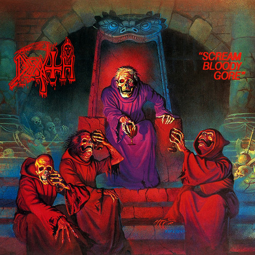 Death - Scream Bloody Gore (Vinyl, LP, Album, Limited Edition, Reissue, Blood Red w/ Aqua Blue Butterfly Wings and Neon Purple, Red and Bone White Splatter)