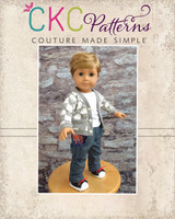 Elijah's Knit Cardigan and Ryker's Woven Skinny Pants Doll Sizes PDF Pattern