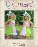 Topanga's Strapless Top and Dress Sizes 2T to 14 Kids PDF Pattern