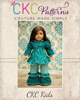 Alyssa's Ruffle Waist Pants & Matilda's Peasant Top Doll Size PDF Pattern