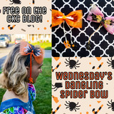 CKC's Spooky Side:  Wednesday's Dangling Spider Bow