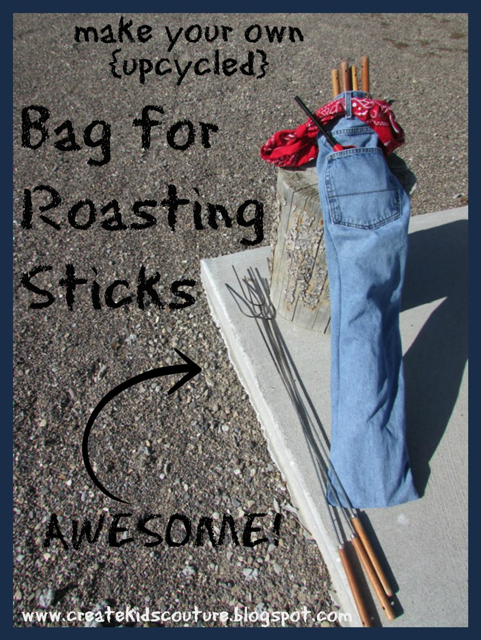 Camping Bag for Roasting Sticks <Upcycled from Denim Jeans>