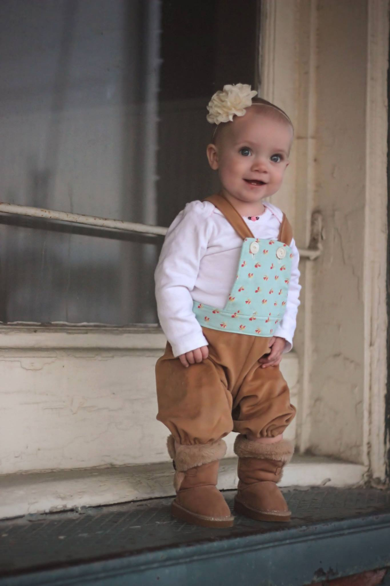 Tenley's Knotted Overalls Sizes 6/12m to 8 Kids and Dolls PDF Pattern
