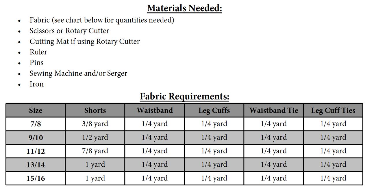 Danielle's Cuffed Shorts Sizes NB to 15/16 Kids PDF Pattern
