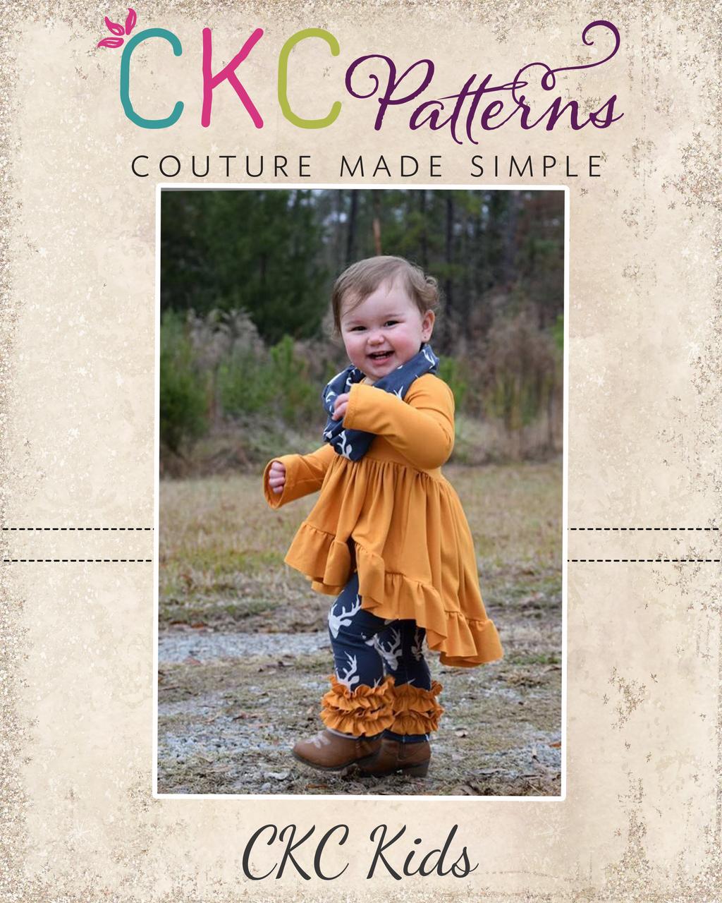 Uma's Knit Woven Strip work High Low Dress and Tunic Sizes 6/12m to 15/16 Kids PDF Pattern