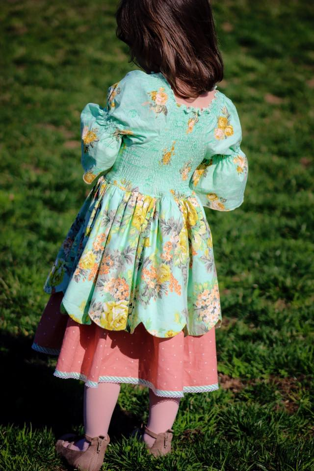 Ireland's Scalloped Peasant Dress Sizes 6/12m to 8 Kids PDF Pattern